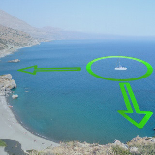 The position of the yacht is relative to designated objects on shore.