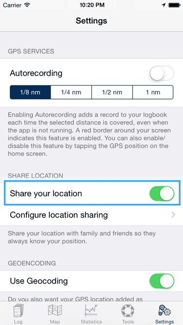 Screenshot to enable Location Sharing