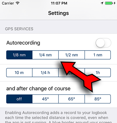 distance or time settings for autorecording
