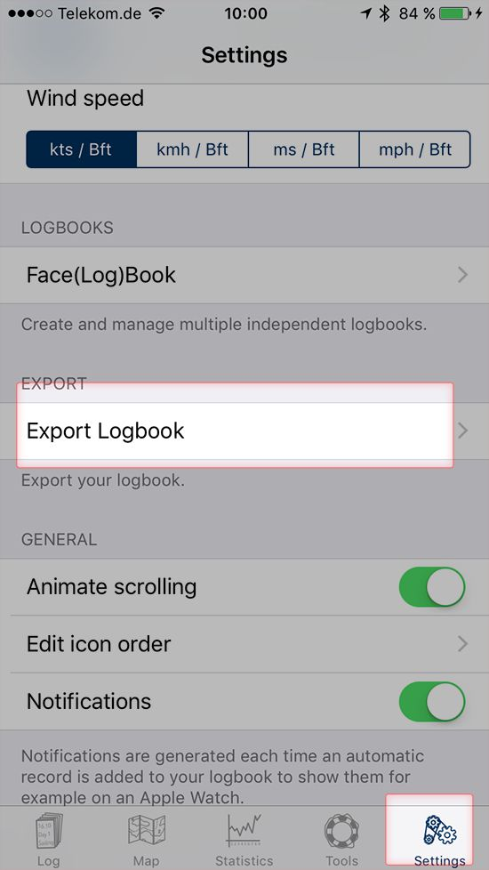 Screenshot of Settings screen in Logbook App on iPhone