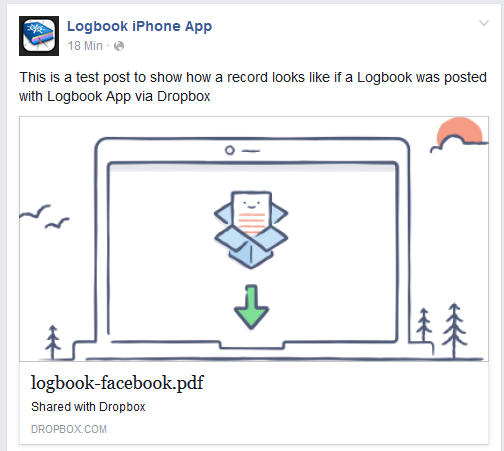 Screenshot of example Facebook post with PDF Logbook