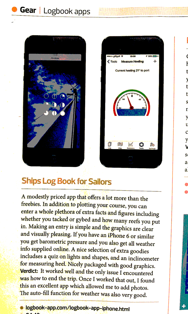 Article from Sailing Today of Logbook App